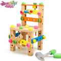 DANNIQITE Children removable wooden toys multifunctional chair disassembly assembly work bench chair