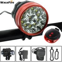 WasaFire 20000Lumens 12x XM L T6 LED Bicycle Light Cycling Bike Head Lamp + 9600mah 18650 Battery Pack+ laser tail light