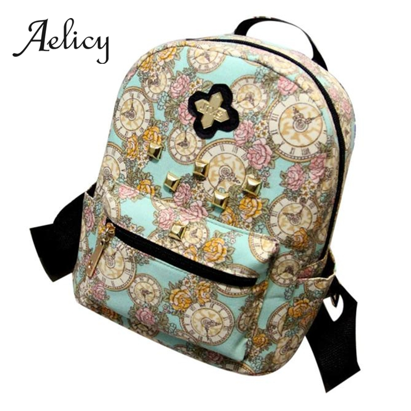 Aelicy Clock Flower Floral Canvas Bag Students Girls School Bag Women Daily Backpack Outdoor Travel Book Satchel Shoulder BagAelicy Clock Flower Floral Canvas Bag Students Girls School Bag Women Daily Backpack Outdoor Travel Book Satchel Shoulder Bag