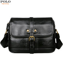 c31bd9a42c VICUNA POLO Man Brand Vintage Messenger Bag Front Pocket Leather Men Travel  Crossbody Bag With Button