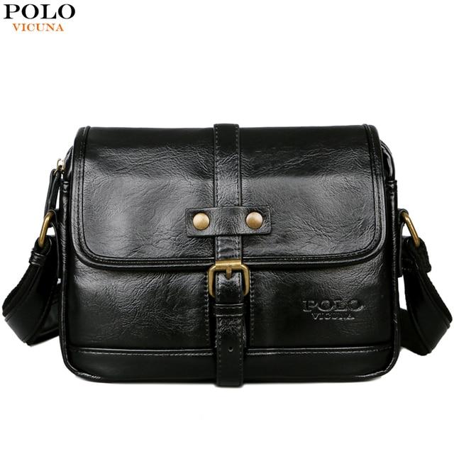 d4ba3277431 VICUNA POLO Man Brand Vintage Messenger Bag Front Pocket Leather Men Travel  Crossbody Bag With Button Belt Men s Shoulder Bag