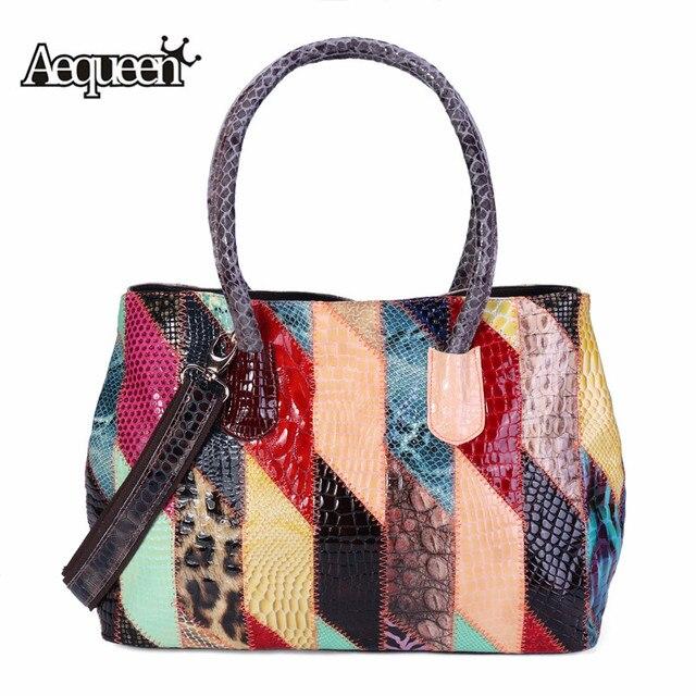 8e7e031f19 AEQUEEN Bright Color Shoulder Bag Striped Messenger Bag For Women Genuine  Leather Handbags Patchwork Ladies Totes Fashion Bolsas