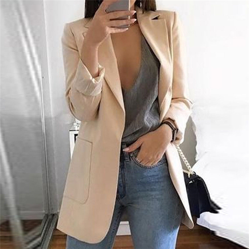 New Women's Fashion Casual Long Sleeve Lapel Slim Pockets Mid Coat Ladies Office Work Suit Go Out Wear Jackets
