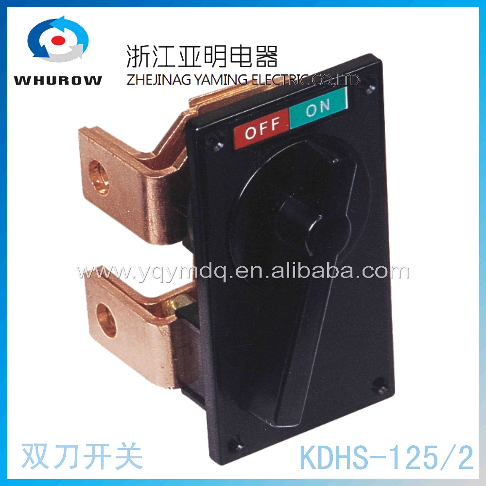 KDHS-125/2 Knife switch breaker rotary switch 2 position off-on 125A 2 pin 2 knife copper connection universal switch Factory ui 660v ith 125a on off 2 position rotary cam changeover switch lw28 125 3