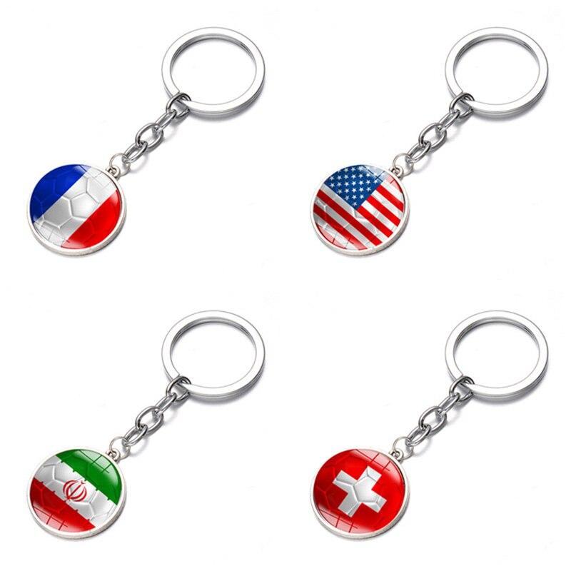 France Switzerland United States Iranian Flag Bronze Alloy Time Jewel Pendant Keychain 2018 Football Match 32 National Keychain