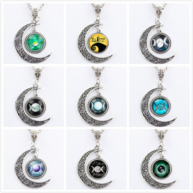 Triple moon goddess pendant wiccan jewelry moon goddess necklace triple moon goddess pendant wiccan jewelry moon goddess necklace witch necklaces glass dome choker necklace moon aloadofball Choice Image