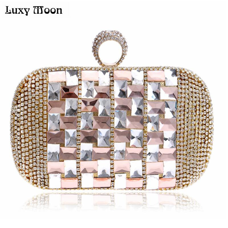 <font><b>Top</b></font> Shinny Silver Rhinestone Evening Bag Crystal Gold Clutch Bags Bride Banquet Bling Blue Clutches small shoulder bag W734