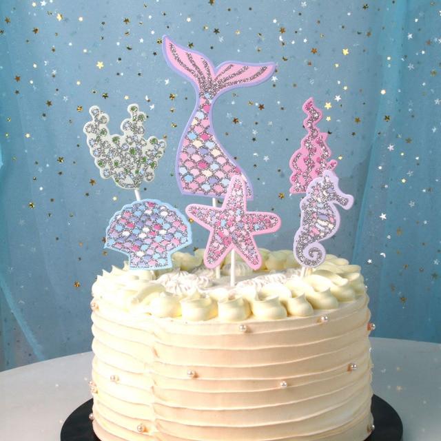 1 Set Glitter Mermaid Theme Party Cake Birthday Decorations Kids Happy Baby Shower Girl