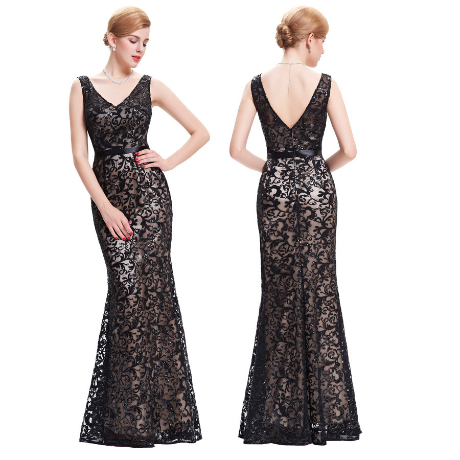 Long Evening Dress Kate Kasin Double V Neck Beaded Evening Gowns Lace Mother of the Bride Dresses Black Formal Prom Dress 0034 5