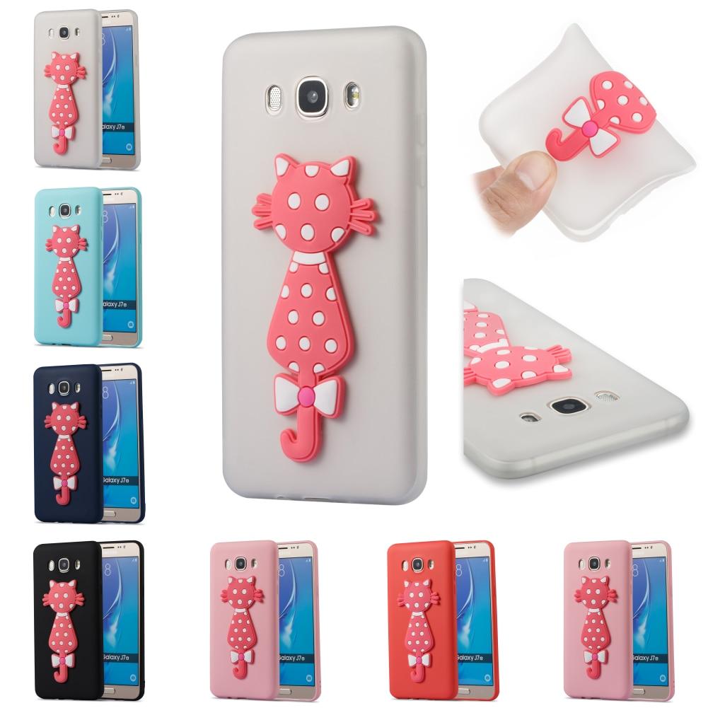 3D Cat TPU Silicone Cute Soft Cubierta Phone Case Cover Bag Kryty Shell For Sumsung Samsung Samsug Galaxy Galax J7 2016 J710