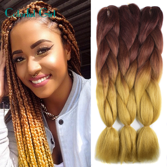 Kanekalon Jumbo Braid Hair Synthetic Braiding Extension Blue Crochet Pieces For