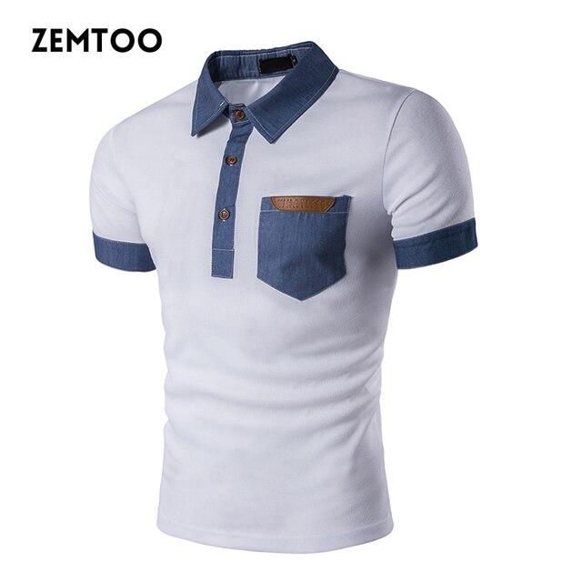 Ropa de marca verano hombres Camisa de Polo de moda vaquero costura manga  corta Polo Camisa 30be379d7352c