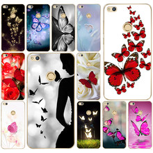 204DD Red butterfly on white roses flower Hard Transparent Cover Case for Huawei p8 P20 honor 9 Lite mate 10 pro y6 y5 2017(China)