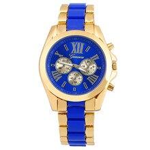 0ec637d16 2018 حار مبيعات الذهب الأزرق ساعات الفولاذ النساء أعلى العلامة التجارية جنيف  الفاخرة ساعة فستان ووتش · 3 اللون