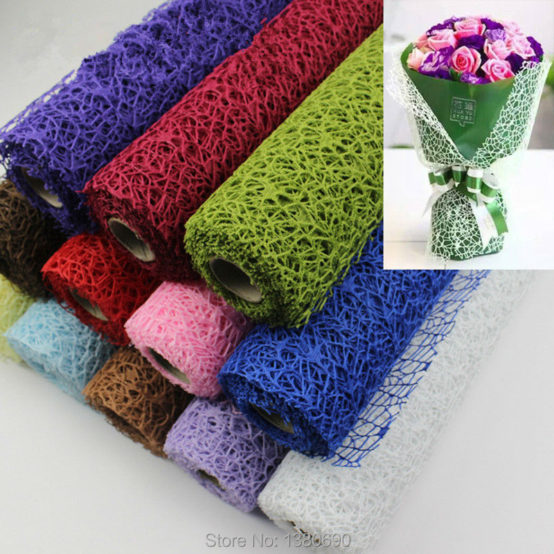 5Yard*50cm/Roll DIY Flower Gift Decoration Wrapping Packing Crepe Papers Mesh Handmade Materials Jacquard Flowers Material