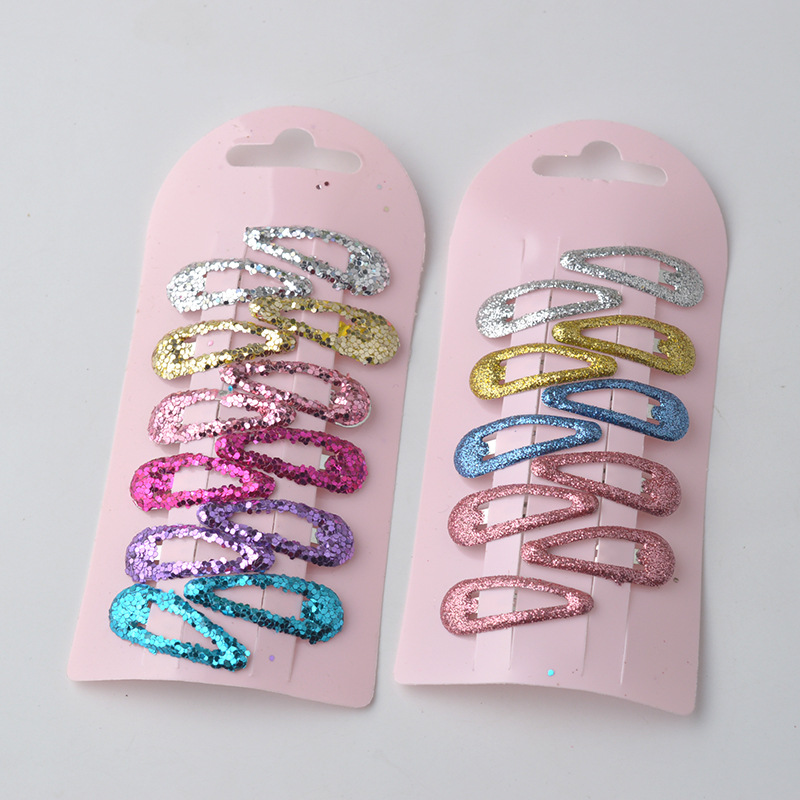AKWZMLY New 10Pcs Girls Small Glittering Hairclip Metal Snap Hair Clip Solid Kids Hair Accessories Hairgrip Jewelry Hair Slides
