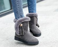 2017 Fashion Winter Boots Women And Girls Warm Waterproof Snow Boots Genuine Leather Buckle Outdoor