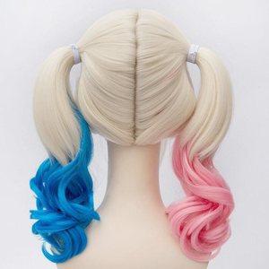 Image 4 - Anime Suicide Squad Batman Joker Harleen Quinzel Wig Harley Quinn Heat Resistant Synthetic Hair Cosplay Wigs + Wig Cap