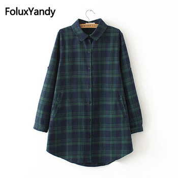 New Autumn Plaid Blouses Long Sleeve Women Casual Turn-down Collar Loose Long Blouse Shirt Plus Size 3XL 4XL KKFY2266oil cotton long shirt fashion plaid turn down collar full sleeve office lady autumn women blouse plus size casual blusas student top