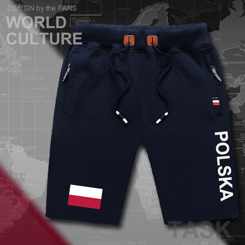 Poland Polish Pole  POLAK Mens Shorts Beach New Men's Board Shorts Flag Workout Zipper Pocket Sweat Bodybuilding New POLSKA Flag