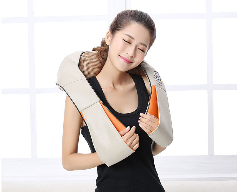 ФОТО Electric kneading massage cape cervical kneading neck and shoulder massage neck device Infrared heating massage