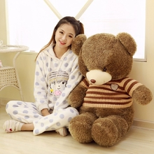 big plush round eyes coffee stripes sweater teddy bear toy huge bear doll gift about 140cm