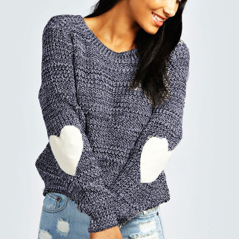Women Sweet Heart Print Long Sleeve Knitwear Jumper Fashion Casual Knit Sweater Elegant Pullover Plain truien dames pull femme