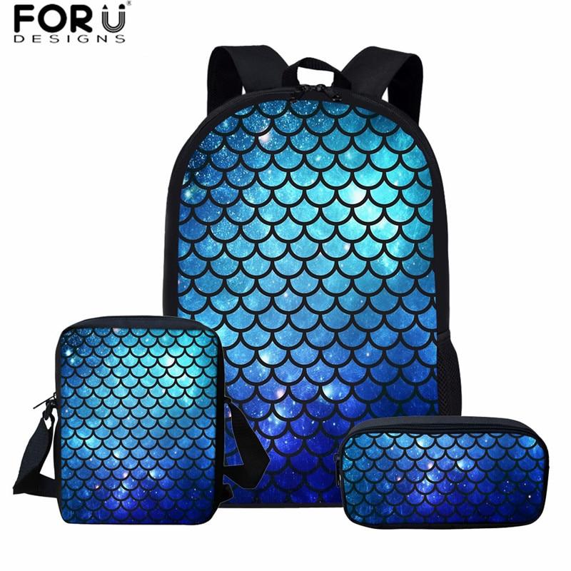 FORUDESIGNS Fashion Mermaid Pattern School Bag Set For Teenager Girls Unique Casual Schoolbag Women Travel Shoulder Bag Mochila