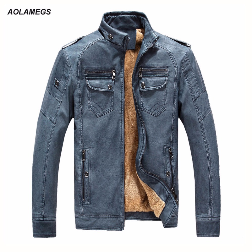 Aolamegs Men Leather Jackets Winter Warm Male PU Leather Motorcycle Biker Jacket Fashion Vintage Stand Collar Men's Outwear Coat dhl free shipping top brand warm a1 clothing man 100% vintage italy leather jackets thick men s genuine leather biker jacket