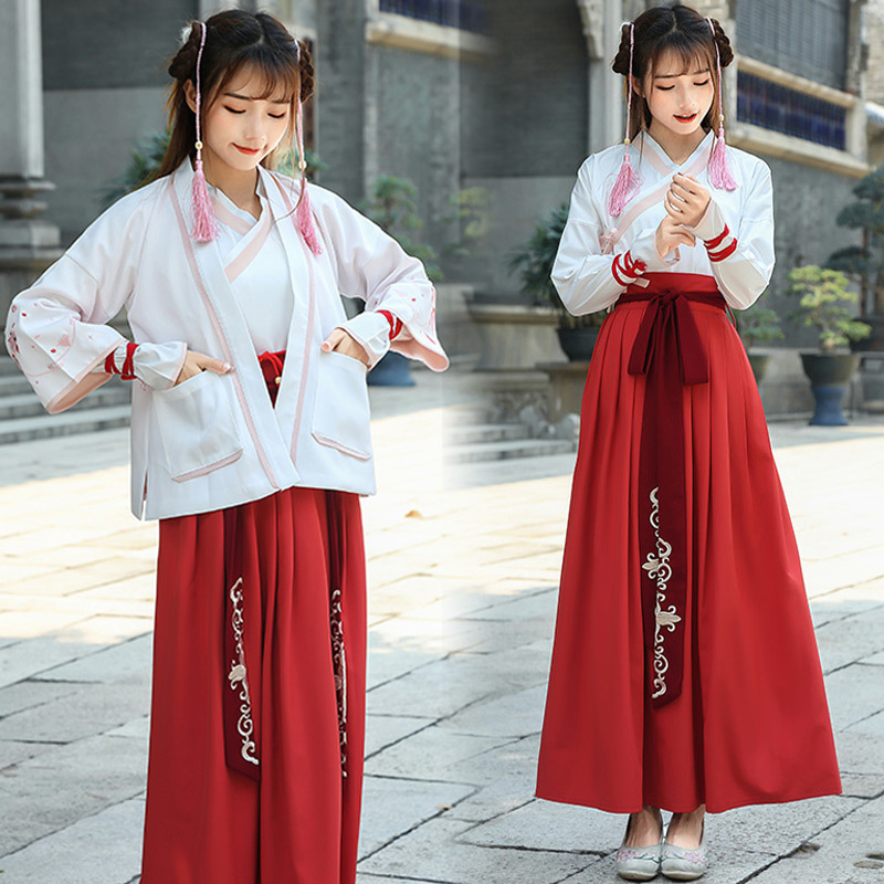 Original chinois traditionnel Hanfu Costume pour les femmes antique Tang dynastie princesse Dancewear dame Oriental Folk danse tenue 90