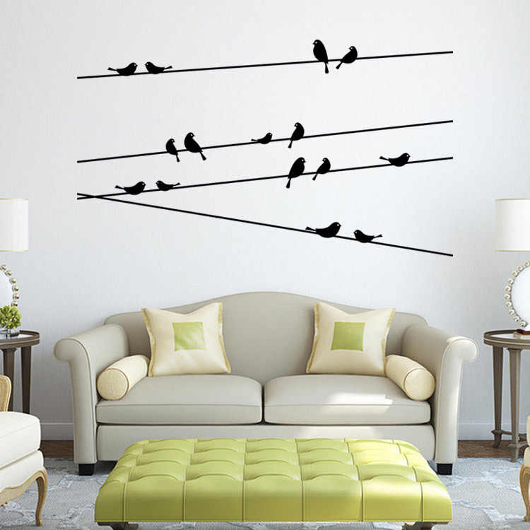 Birds Telephone Pole Wall Stickers For Kids Room Bird Sofa Dining Room Modern Decor Bedroom Decals Wall Decor Wallpaper