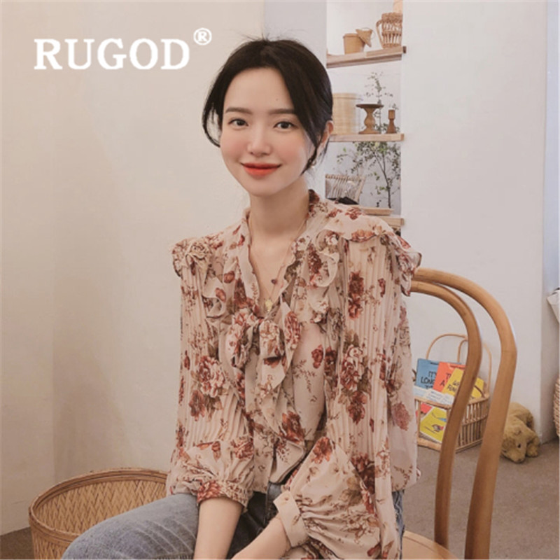 RUGOD 2019 New Arrival Lantern Sleeve Floral Print Womens Tops And Blouses V Neck Long Sleeve Casual  Chemisier Femme