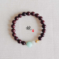 Half The Original Natural Gentle Bracelet Female Lobular Red Sandalwood Sandalwood Beads Bracelets Amazonite Jade