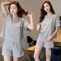 2016 Nueva Carta Impresa Raya Pijamas Mujeres Pijama Gris Puro Algodón de manga Corta Traje de ropa de Dormir