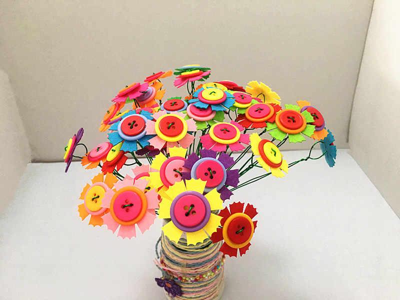 Happyxuan DIY Фетр кнопка цветок Craft Наборы детский сад детский творческий Игрушечные лошадки образования детей ручной работы подарок украшения комнаты
