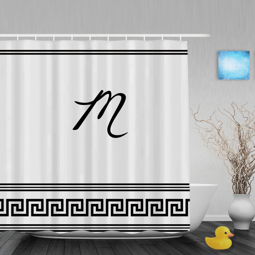 Black and white monogrammed shower curtain - Personalized Black And White Home Decor Shower Curtain Art Monogram M Bathroom Curtains Polyester Waterproof Fabric