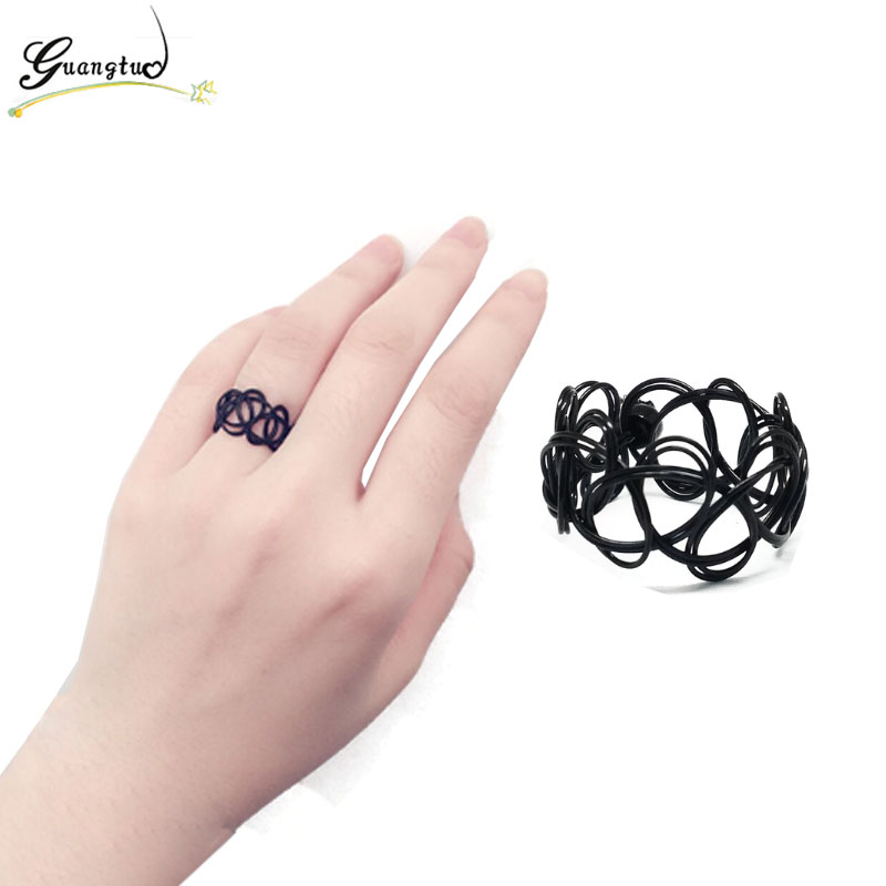 Punk Resizable Black Stretch Tattoo Finger Rings Handmade Fashion Jewelry Elastic Gothic Anel Anillos Bijoux Ring engagement ring
