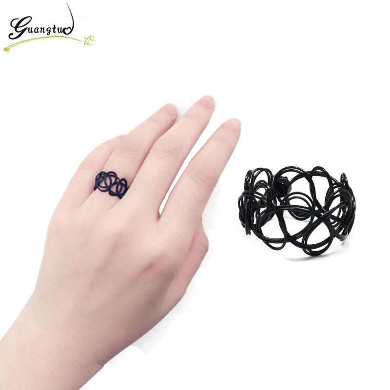 Punk redimensionable negro estiramiento tatuaje anillos de dedo hecho a mano joyería de moda gótico elástico Anel anillos de bisutería anillo