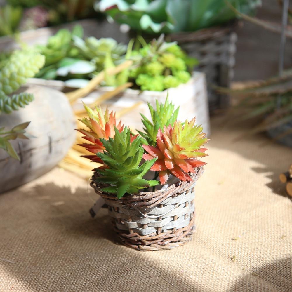 Artificial Succulent Plants Aloe Flower Landscape Decorative Flower Mini Green Fake Succulents Plant Garden Arrangement Decor