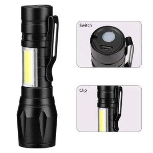 Image 2 - USB Sạc XPE + LED COB Bộ Đèn Pin Đèn Linternas Được Xây Dựng trong Pin Bằng Cáp USB Hộp Quà Tặng