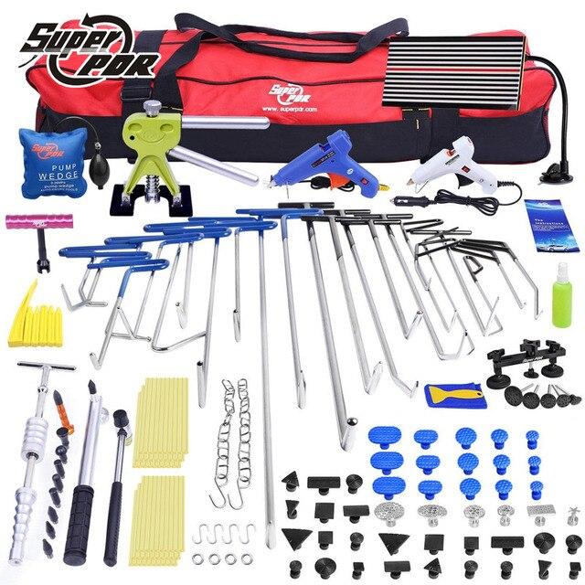 PDR Paintless Dent repair tool kit PDR hooks tools set Push Rod Car Crowbar LED lamp Board pulling bridge glue puller tools