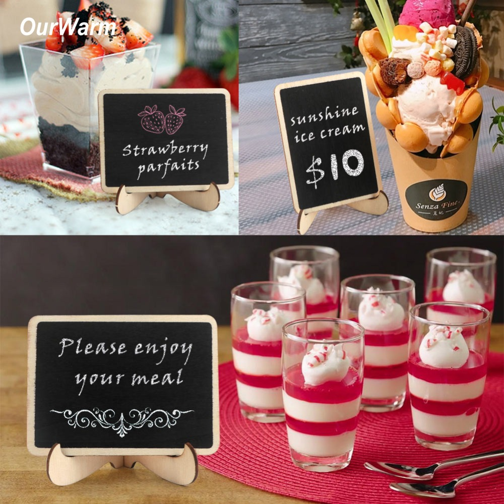 OurWarm 20Pcs/lot Mini Chalkboard Wedding Party Table Number Holder Message Board Signs Food Labels for Event Party Supplies