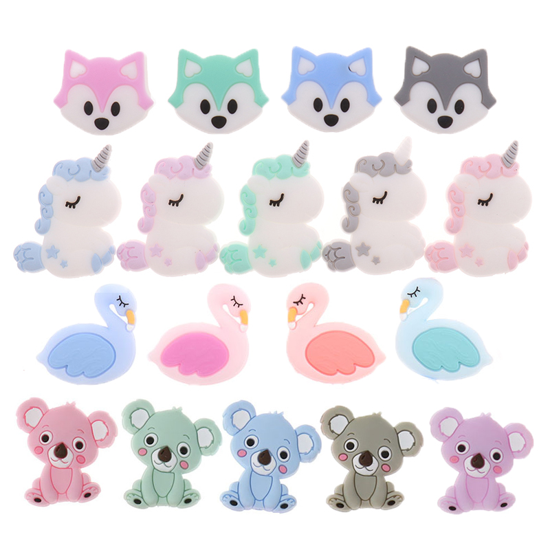 50PCS Unicorn Pearl Beads Silicone Bead Teething Toys Baby Diy Animal Rodent Set  Food Grade Silicone Teether Baby Teether Ball