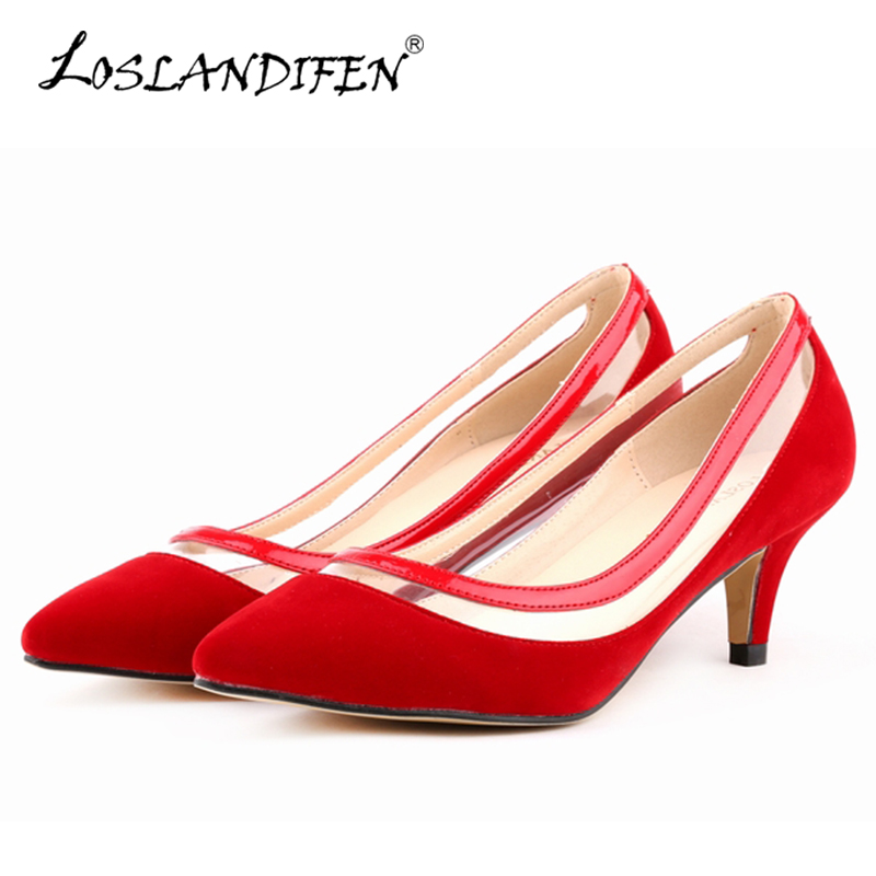 LOSLANDIFEN Transparent Nude Flock Pumps Women Fashion Med High Heels Black Court Shoes Ladies Wedding Dress Shoes Red 678-2VE резистор kiwame 2w 30 ohm