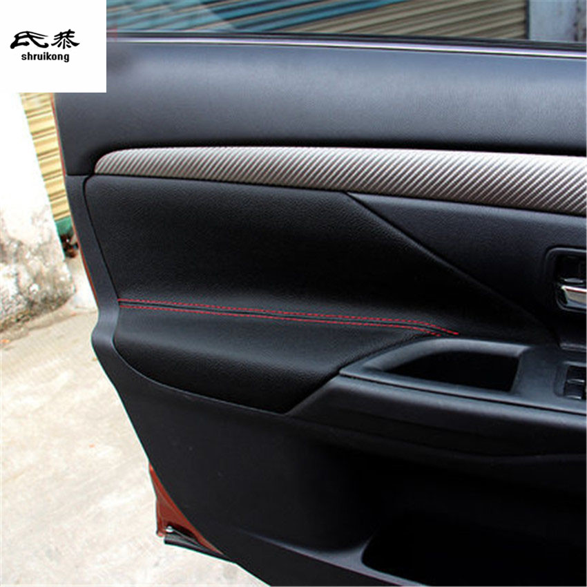 Free shipping 1lot genuine leather Interior door armrest cover for 2016-2018 Mitsubishi OUTLANDER car accessories for mitsubishi outlander 2013 2014 2015 2016 car styling door s armrest panel cover decoration trim leather skin