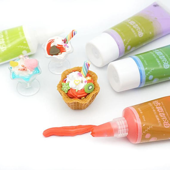 Decoden Whipped Cream Glue For Cell Phone Decoration 50g And 24 Colors Options 50 ML Whipped Cream Glue Plus 2 FREE Piping Tips