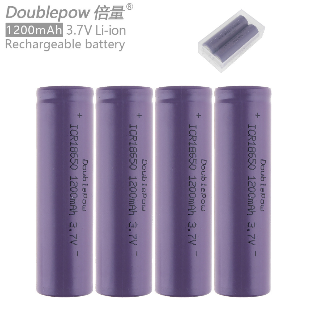 4pcs Doublepow ICR18650 1200mAh 3.7V Li-ion Rechargeable Battery with Safety Relief Valve + Portable Battery Box
