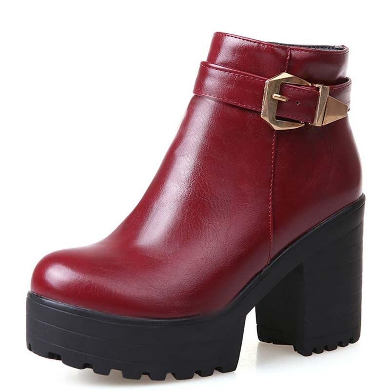 a7702332b Tamanho 34-43 New Arrival Moda Ankle Boots Botas De Couro Grossas Botas De Salto  Alto Plataforma Dedo Do Pé Redondo Moda Sapatos Zipper