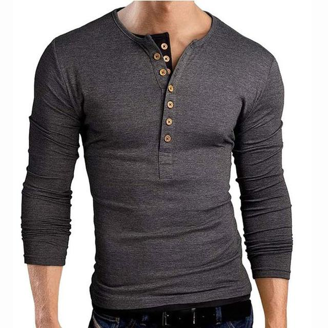 New Gray T shirt Tee Shirt Homme 2017 Double V Neck Henley Shirt Long Sleeve Tee Shirt Men Slim Fit T-shirt Xxl