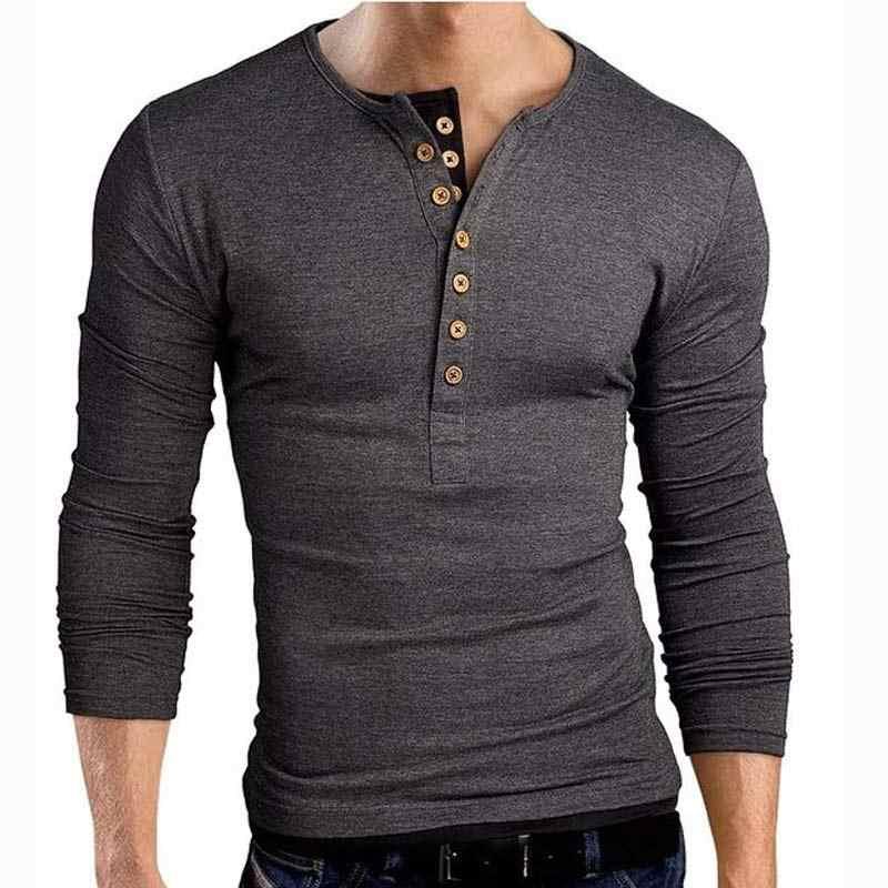 Nieuwe Grijs t-shirt Tee Shirt Homme 2017 Dubbele V-hals Henley Shirt Lange Mouw Tee Shirt Mannen Slim Fit t-shirt Xxl